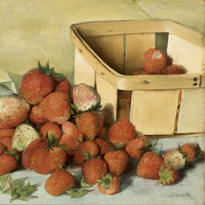 Joseph Decker (1853–1924), Still Life with Strawberries, c. 1885, oil on canvas, 8 x 11 7/8 in. (detail)