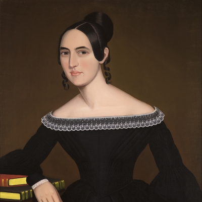 Ammi Phillips (1788–1865), A Portrait of Jeanette Payne, c. 1841, oil on canvas, 33 1/2 x 28 in. (detail)