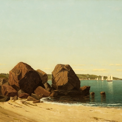 James R. Brevoort (1832–1918), Half Moon Cove at Gloucester Bay, oil on canvas, 18 x 30 in. (detail)