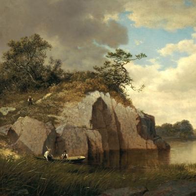 David Johnson (1827–1908), Catnip Island near Greenwich, Connecticut, 1878–79, oil on canvas, 22 x 34 in. (detail)