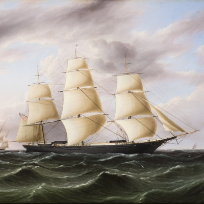 James E. Buttersworth (1819–1894), Clipper Ship Black Warrior, c. 1853, oil on canvas, 29 x 36 in. (detail)