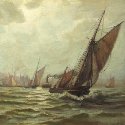 Edward Moran (1829–1901), New York Harbor, c. 1870, oil on canvas, 14 1/2 x 18 in. (detail)