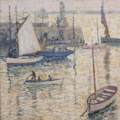 Richard Hayley Lever (1876–1958) St. Ives Harbor, Cornwall. Oil on canvas. 12 x 16 in. (detail)