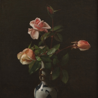 George cochran Lambdin (1830–1896). Roses in a Chinese Vase, 1872. Oil on canvas, 16 x 12 in. (detail)