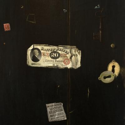 John Frederick Peto (1854–1907), Twenty Dollar Bill, 1889, oil on canvas, 24 x 20 in. (detail)