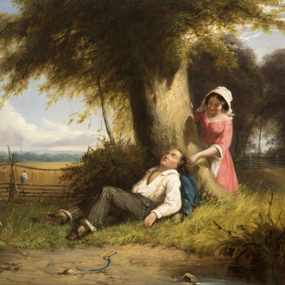 William Sanford Mason, (1824–1864), Caught Napping, 1857, oil on canvas, 20 x 24 1/4 in. (detail)