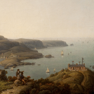 Robert Salmon (1775–c. 1858), South Stack Lighthouse and the Holyhead Signal Station, Anglesey, Wales, 1842, oil on board, 10 x 8 in. (detail)