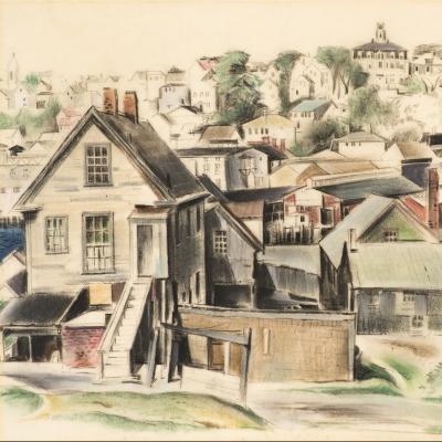 Earl Horter (1881–1940), Gloucester, Massachusetts, 1932, pastel on vellum, 12 x 14 ½ in. (detail)