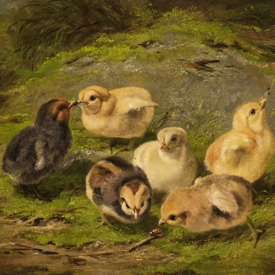 Arthur Fitzwilliam Tait (1819–1905), Chickens, 1865, oil on artistboard, 10 x 14 in. (detail)