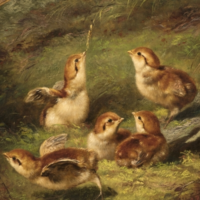 Arthur Fitzwilliam Tait (1819–1905), Young Ruffed Grouse, 1858, oil on canvas, 9 1/2 x 12 1/2 in. (oval) (detail)