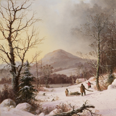 George Henry Durrie (1820–1863), Gathering Wood, c. 1859, oil on canvas, 18 1/8 x 24 in. (detail)
