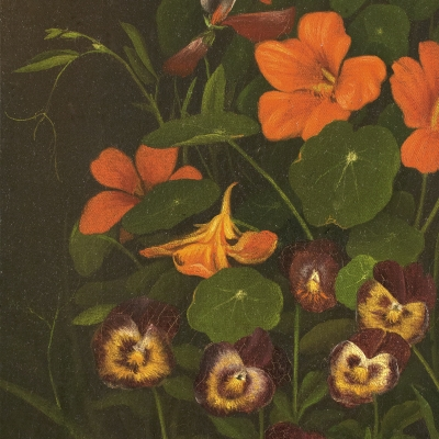 Levi Wells Prentice (1851–1935)  Pansies and Nasturtiums, c. 1890, oil on canvas, 11 1/2 x 6 1/2 in. (detail)