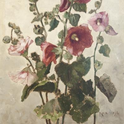 Max Weyl (1837–1914), Hollyhocks, c. 1881, oil on canvas, 21 1/4 x 15 in. (detail)