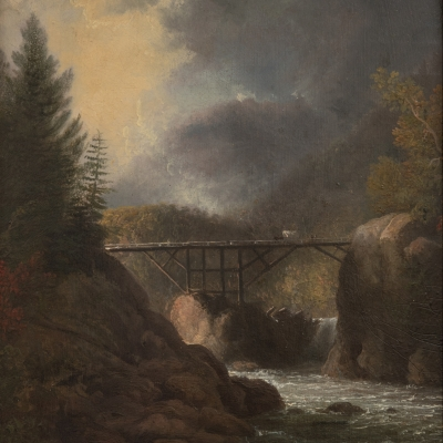 Thomas Doughty (1793–1856). Crossing the Bridge. Oil on board. 11 1/2 x 9 3/4 in. (detail)