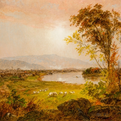Jasper F. Cropsey (1823–1900), A Bend in the River, 1892, oil on canvas, 12 1/2 x 20 1/2 in. (detail)
