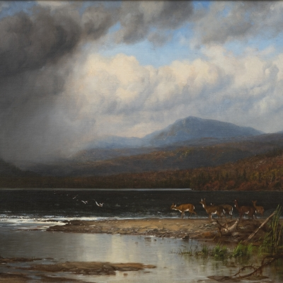 James M. Hart (1828–1901). Approaching Storm, Adirondacks, 1866. Oil on canvas, 24 x 46 in. (detail)