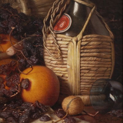 Lemuel E. Wilmarth (1835–1918). Wine Bottles, Walnut, Oranges and Raisones, 1892. Oil on canvas laid down on panel, 13 x 9 in. (detail)