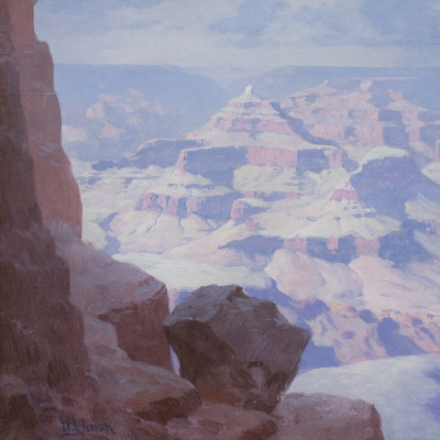 William R. Leigh (1866–1955). The Grand Canyon, 1909. Oil on canvas, 12 x 14 1/4 in. (detail)