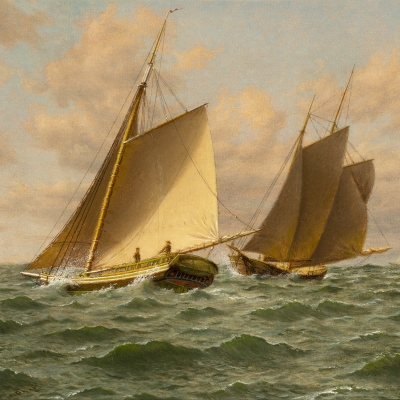 William M. Davis (1829–1920), Schooners at Sea: A Close Shave, oil on canvasboard, 12 x 14 in.