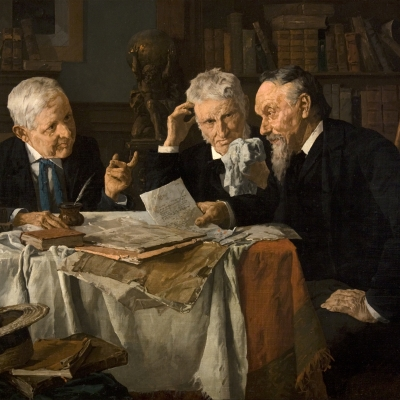 Louis Charles Moeller, (1855–1930), A Discussion, c. 1890, oil on canvas, 18 x 24 in. (detail)