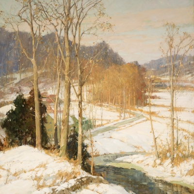 Frederick J. Mulhaupt (1871–1938), The Valley Road, c. 1925, oil on canvas, 36 x 36 in. (detail)