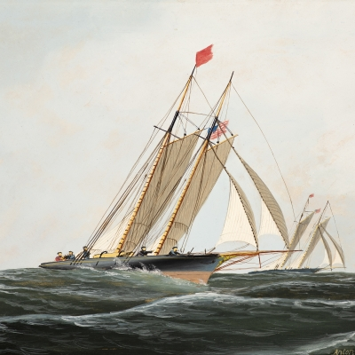 Antonio Jacobsen (1850–1921) , The Yacht Race, 1874, oil on board, 9 1/2 x 14 1/4 in.