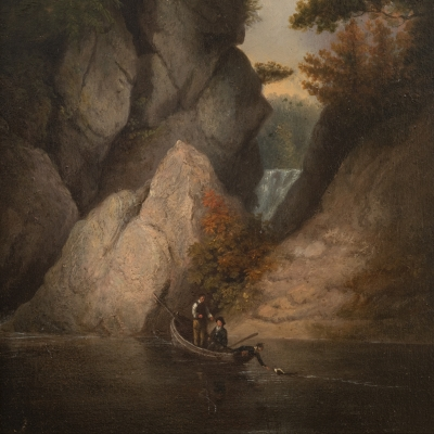 Thomas Doughty (1793–1856). Fishing. Oil on board. 11 1/2 x 9 3/4 in. (detail)