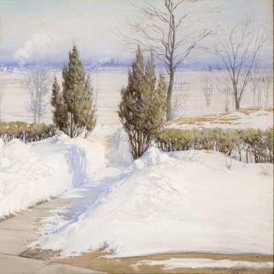 Alice Helm French (1864–after 1953), The Path Through the Drifts, Chicago, 1908, pastel on paper, 23 x 32 in. (detail)
