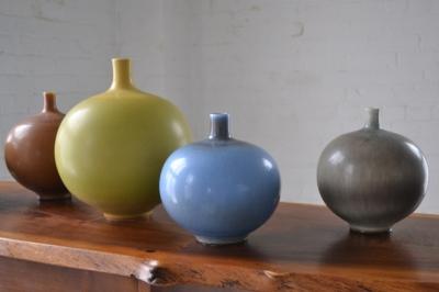 Berndt Friberg, Vases in hare's fur glazes, Gustavsberg Studio, Sweden, ca. 1950