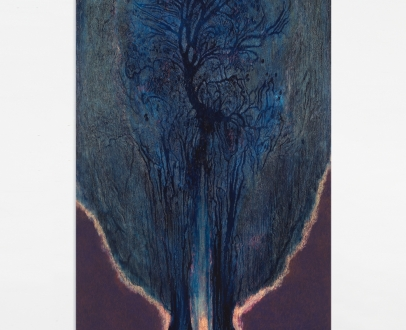 """Luisa Rabbia """"Ecstasy"""",2019 Colored pencil, pastel, acrylic and oil on canvas 102 x 47 inches (260 x 119 cm)"""