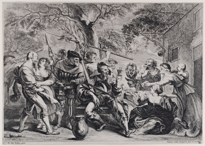 Soldiers and Peasants Sitting and Fighting Near a Table