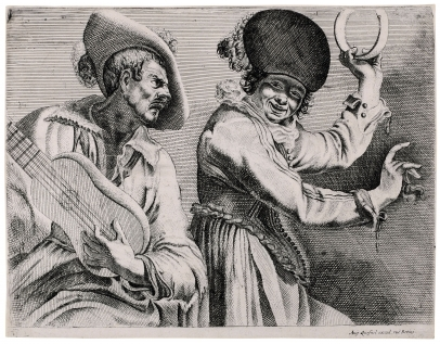 Two Musicians: A Man with a Guitar and a Woman Playing a Tambourine