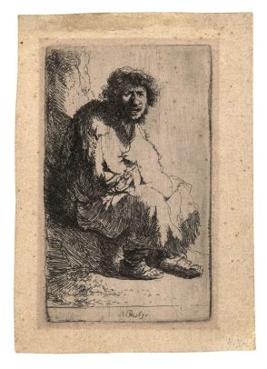 Rembrandt, Beggar Seated on the Bank (Self Portrait)