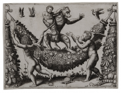 Two Putti Mocking a Monkey