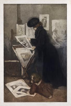 Mere et l'Enfant dans une Galerie d'Estampes