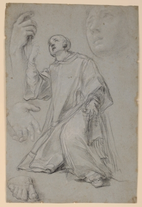 A Kneeling Saint, with Studies of Hands, a Foot, and a Head