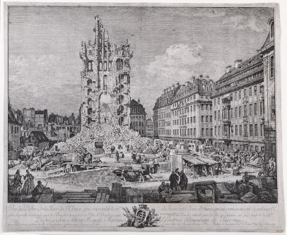 Bernardo Bellotto, Ruins of the Old Kreuzkirche, Dresden