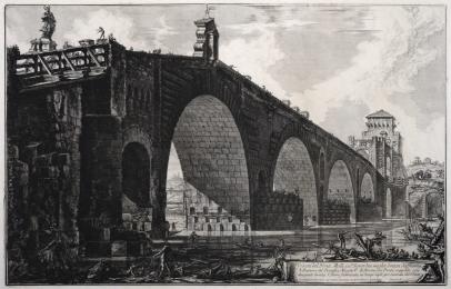 Veduta del Ponte Molle sul Tevere due miglia lonton da Roma