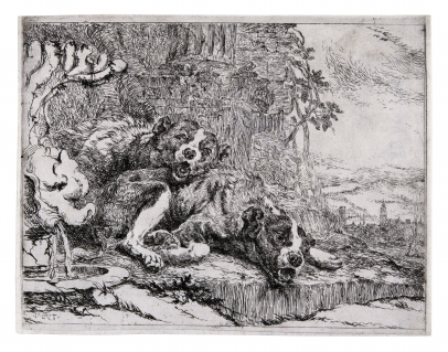 Two Dogs by a Fountain