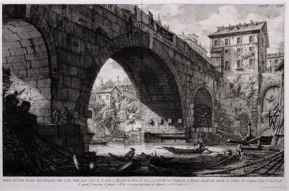 Veduta del Ponte Ferrato dagl' Antiquari detto Cestio