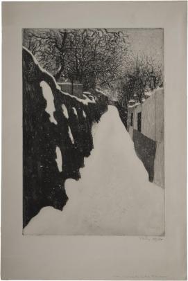 Montmartre, la rue Saint Vincent en hiver