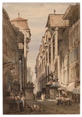 Samuel Prout, French Street with the Café du Mont Blanc
