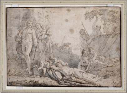 A Young Man Holding an Urn, A Sleeping Nymph, Other Figures by a Herm; Similar Studies Verso