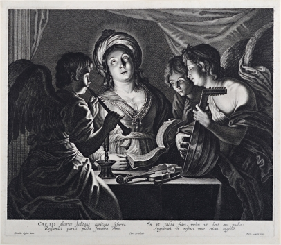 St. Cecilia With Three Angels Making Music