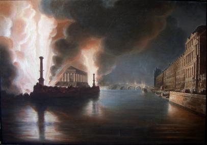 Temple du commerce et feu d'artifice sur la Seine, Fête pour la paix générale donée à Paris le 18 Brumaire an X