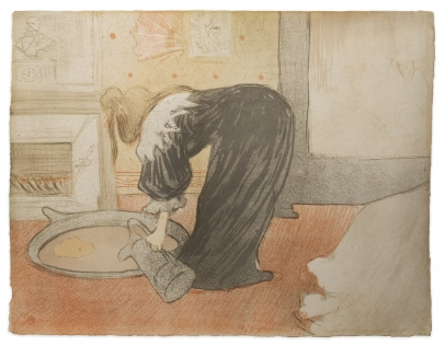 Image of Femme au Tub, the lithograph. A woman in a black robe leans over, filling a basin of water for a bath.