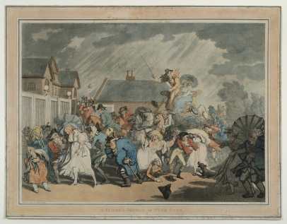 Rowlandson, A Sudden Squall in Hyde Park