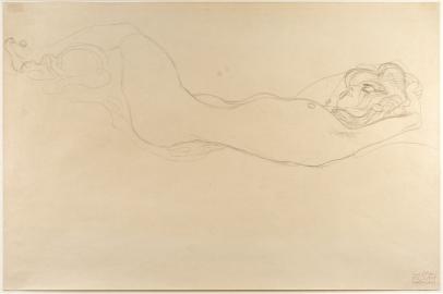 Gustav Klimt, Reclining Nude (Head Right)