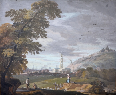 Shepherds and their Flock, a Laundress, her Dog, Other Figures in a Hilly Landscape on the Outskirts of a City