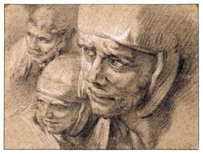 François Boucher, Three Heads of Roman Soldiers